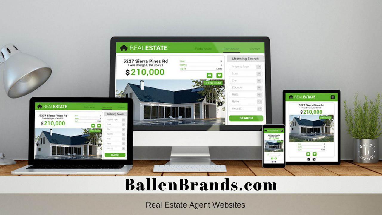 BallenBrands.com and REal Estate Agent Websites are written below a desktop computer, tablet, and smart phone all showing a real estate website design