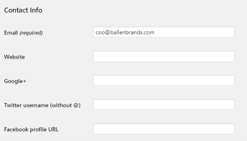 wordpress dashboard email address for user