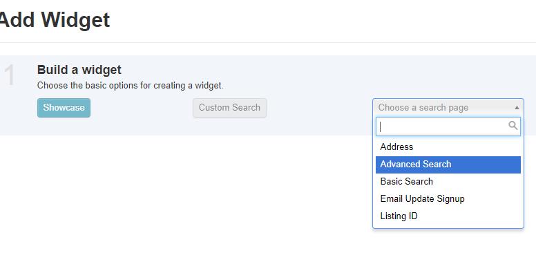 screenshot of build a widget options in IDX Broker