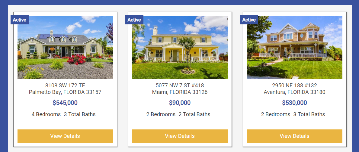 screenshot of showcase widget results on BREW using IDX Broker