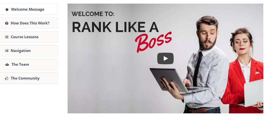 rank like a boss video image and menu