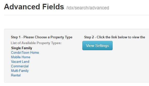 screenshot of Advanced Fields in IDX Broker
