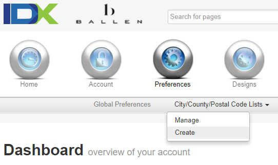 screenshot of IDX Broker dashboard, preferences, city list options