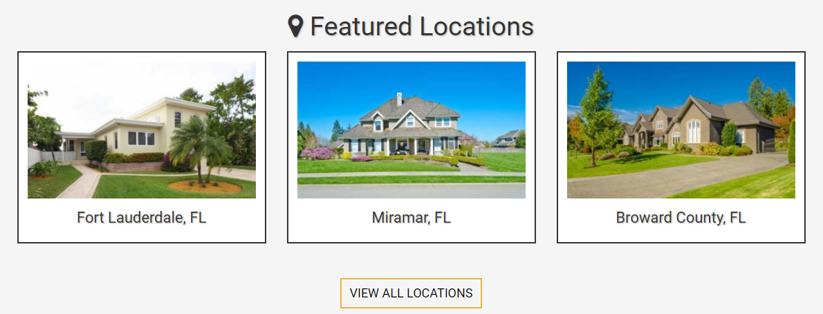 screenshot of Featured Locations on a BREW (Ballen Real Estate Website)