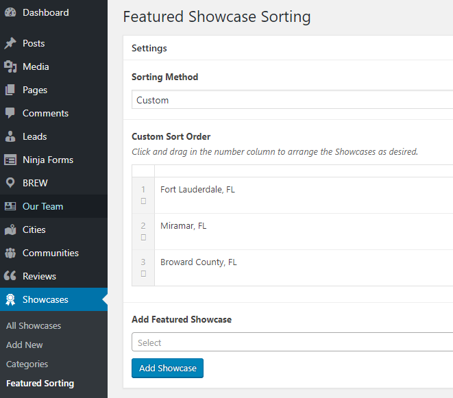 screenshot of Featured Showcase Sorting
