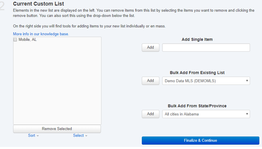 screenshot of current custom list and finalize button
