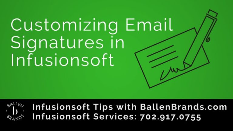 Email signature icon on a green background with the words Customizing Email Signatures in Infusionsoft