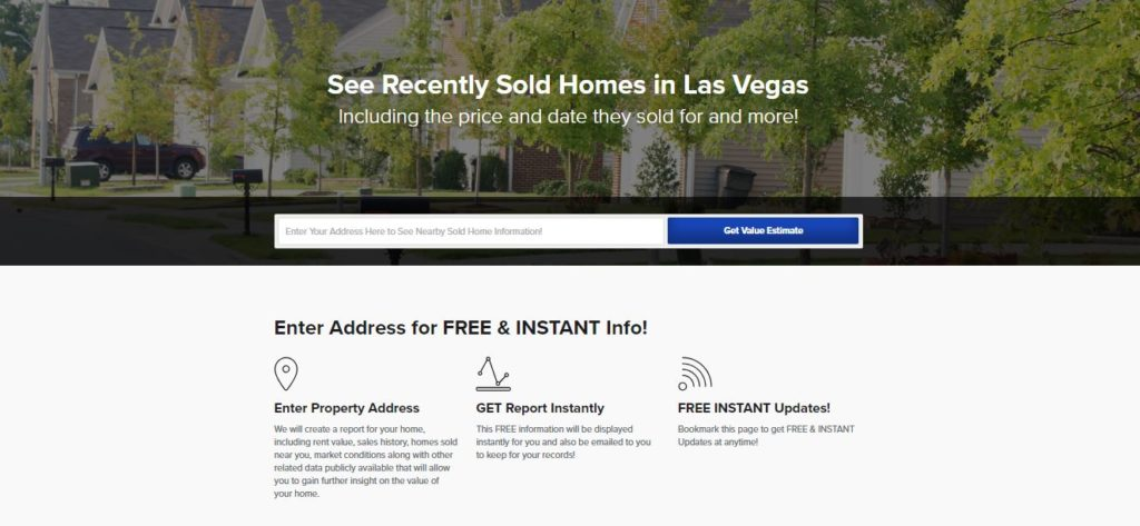 Real Estate Landing Page: Nearby Sold Homes