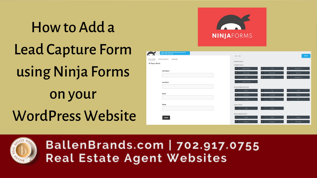 How to Add a Lead Capture Form using Ninja Forms on your Wordpress Website