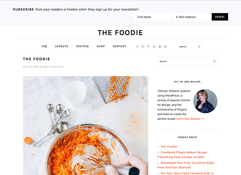 The Foodie Website Theme