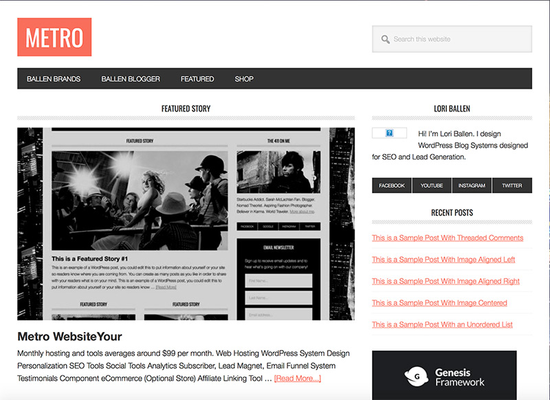 Metro Website Theme